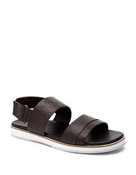 Calvin Klein Embossed Leather Sandals Dark Brown
