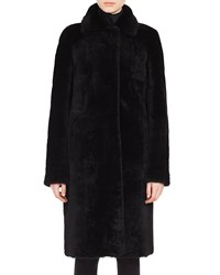 Akris Punto Shearling And Suede Reversible Coat Black