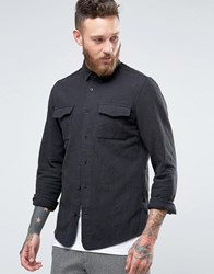 Hoxton Shirt Company Slim In Crinkle Charcoal Grey