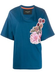 Mr And Mrs Italy Oversized Embroidered T Shirt Blue