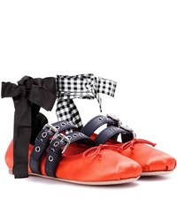 Miu Miu Buckle Embellished Satin Ballerinas Red