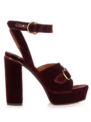 Chloe Kingsley Velvet Sandals Burgundy