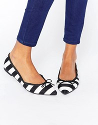 Asos Leona Pointed Ballet Flats Black White