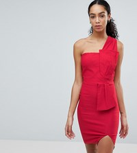 Vesper One Shoulder Pencil Dress With Bow Waist Red