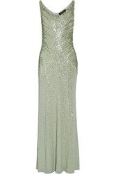 Jenny Packham Crystal And Sequin Embellished Silk Gown Mint