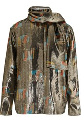 J.W.Anderson Printed Silk Blend Lame Shirt Gold