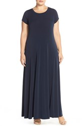 Plus Size Women's Michael Michael Kors Cap Sleeve Side Slit Maxi Dress New Navy