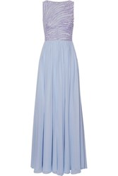 Zuhair Murad Embellished Silk Blend Tulle And Georgette Gown Lilac