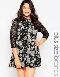 Club L Plus Size Swing Dress With Lace Sleeves In Mono Floral Print Blackcream