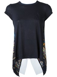 Sacai Open Back Tribal Lace T Shirt Blue