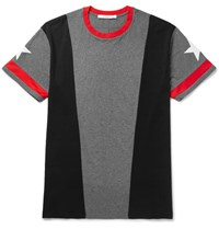 Givenchy Columbian Fit Panelled Cotton Jersey T Shirt Gray