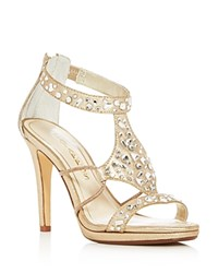 Caparros Emilie Jeweled Metallic High Heel Sandals Gold