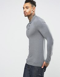 Asos Extreme Muscle Long Sleeve Polo In Grey Grey