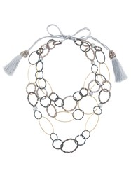 Night Market Bead And Ring Layered Necklace Plastic Polyester Brass Grey