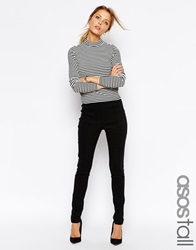 Asos Tall High Waist Trousers In Skinny Fit Black