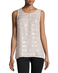 Paperwhite Sleeveless Sequin Linen Tank Flax