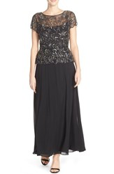 Petite Women's Pisarro Nights Beaded Mesh Mock Two Piece Gown