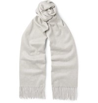 Begg And Co Arran Cashmere Scarf Light Gray