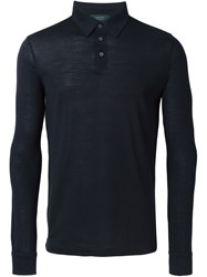 Zanone Long Sleeve Polo Shirt Black