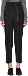 3.1 Phillip Lim Navy Pinstripe Origami Trousers