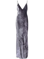 Fleur Du Mal Velvet 'Bias' Slip Dress Grey
