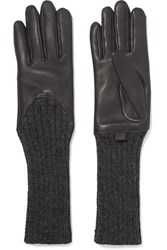 Agnelle Leather And Ribbed Cashmere Gloves Dark Gray