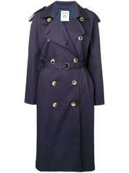 Semicouture Belted Trench Coat Blue