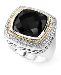 Effy Collection Effy Square Cut Onyx 9 3 8 Ct. T.W. And Diamond 1 4 Ct. T.W. Ring In 18K Gold And Sterling Silver