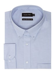 Double Two Men's Long Sleeve Oxford Non Iron Oxford Shirt Blue