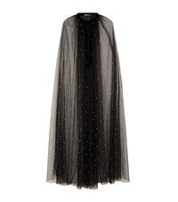 Monique Lhuillier Pearl Embellished Tulle Cape Black