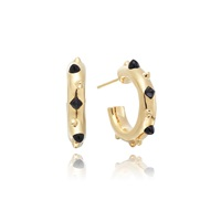 Kinnari Gold Small Crown Hoop Earrings With Onyx