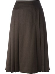 Celine Vintage Pleated Skirt Brown