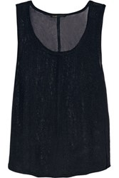 Maje Metallic Open Knit Tank Midnight Blue