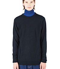 Sunspel Long Sleeved Crew Neck Sweater Black