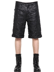Mcq By Alexander Mcqueen Wrinkled Nappa Leather Shorts Black