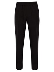 Givenchy Logo Embroidered Wool Twill Trousers Black