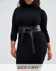 Asos Curve Leather Obi Waist Belt Black
