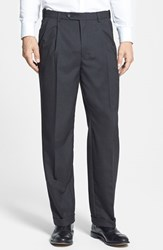 Men's Big And Tall Berle Self Sizer Waist Pleated Trousers Charcoal