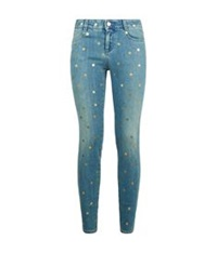 Stella Mccartney Gold Polka Dot Skinny Jeans Blue