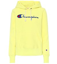 Champion Logo Cotton Hoodie Yellow