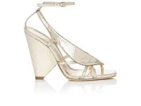 Saint Laurent Women's Triangle Heel Stamped Leather Sandals Gold Silver