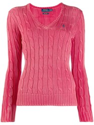 Polo Ralph Lauren Logo Embroidered Sweater Pink
