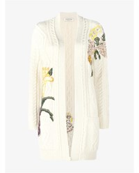 Valentino Floral Print Knitted Cardigan Cream Multi Coloured White Sunset