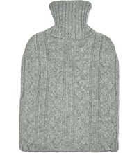 Johnstons Cable Knit Cashmere Hot Water Bottle Light Grey