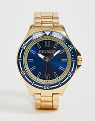 Steve Madden Bracelet Watch With Blue Dial Gold