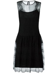 Alberta Ferretti Sleeveless Lace Dress Black