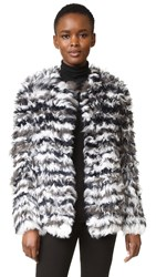 Yves Salomon Striped Curly Lamb Jacket Black White