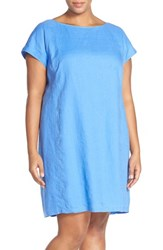 Plus Size Women's Eileen Fisher Bateau Neck Organic Linen Shift Dress Bluebell