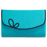 Jacques Vert Scallop Piped Clutch Bag Turquoise