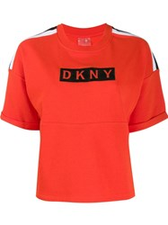 Dkny Logo Print T Shirt Orange